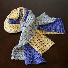 Luxe 3-Season Scarf. Hand-crocheted in a silky bamboo blend. Colors: Taupe, Periwinkle, and Butter.