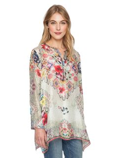 Johnny Was Collection Livelli Silk Tunic at Amazon Women's Clothing store: