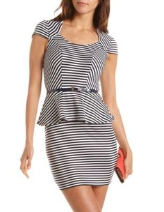 belted striped peplum dress $26.99
