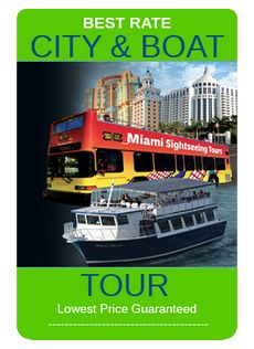 This is a great deal from Miami Sightseeing Tours.  You get to take the bus tour to Coconut Grove, Coral Gables and the Boat Tour takes you around Biscayne Bay to see all of the houses of the Rich and Famous.  This is a great deal and by far the best way to take in all the Sights that Miami has to offer.  This boat Tour will take you around to the islands of the Rich and Famous.  From Star Island to Fisher Island see the homes of Miami's Rich and Famous.  For the best prices on Tours, ...