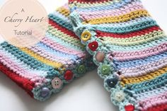 Virka! mönster, beskrivning. Torgvantar, handledsvärmare Engelska Cherry Heart: Stripy Mitts Tutorial
