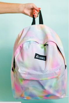 DIY School Supplies You Need For Back To School - DIY Rainbow Watercolor Backpack - Cuter, Cool and Easy Projects for Teens, Tweens and Kids to Make for Middle School and High School. Fun Ideas for Backpacks, Pencils, Notebooks, Organizers, Binders http://diyprojectsforteens.com/diy-school-supplies