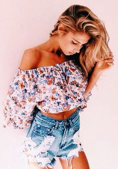floral off shoulder top + cutoffs.