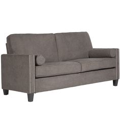 Enjoy relaxing on this beautiful smoky grey velvet sofa that features 8 layers of seating comfort. The slender track arms feature a double row of nail head trim and the sofa features steel seat and back decks for exceptional strength and durability.