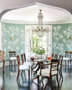 After a fire destroyed their early home, Patty B. and Dave Driscoll rebuilt their lives and their house, preserving the architectural bones while updating spaces to meld old soul with timeless style Dining Room Blue, Dining Room Design, Dining Table, Dining Rooms, Gracie Wallpaper, Of Wallpaper, Wallpaper In Dining Room, Chinoiserie Wallpaper, Interior Exterior