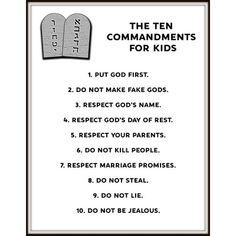 "Printable ""Ten Commandments for Kids"" - Deringa Bible School Crafts, Preschool Bible, Sunday School Activities, Sunday School Crafts, School Lessons, Lessons For Kids, Ten Commandments Craft, Kids Church, Church Ideas"
