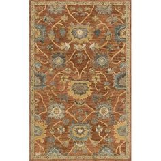 Anchor your living room seating group or define space in the den with this lovely wool rug, featuring a traditional floral motif for eye-catching appeal.