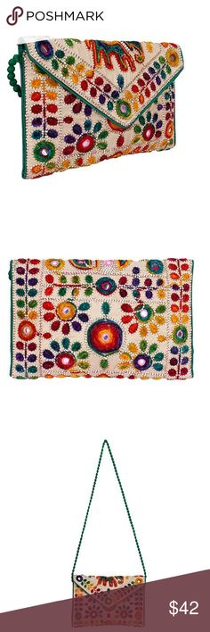 Boho Foldover Clutch Purse New. Bags Clutches & Wristlets