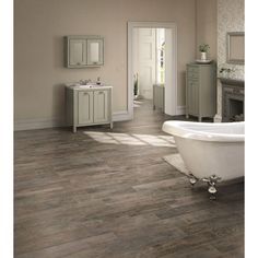 Bathroom flooring- MARAZZI Montagna Rustic Bay 6 in. x 24 in. Glazed Porcelain Floor and Wall Tile sq. / - The Home Depot Grey Wood Tile, Faux Wood Tiles, Porcelain Wood Tile, Wood Tile Floors, Kitchen Flooring, Porcelain Floor, Ceramic Flooring, Laminate Flooring, Maple Flooring