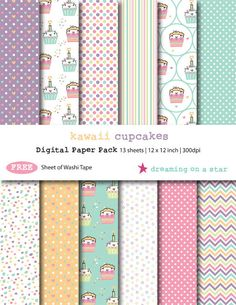 SALE Cupcake Digital Scrapbook, Birthday Scrapbook, Cake Digital Paper, Kawaii Scrapbook, Cupcake Scrapbook, Free Washi Tape, Commercial Use