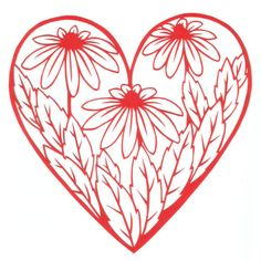 cut paper design Daisy Heart