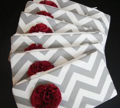 Gray Chevron Clutch with Fabric Flower yellow flower