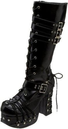 - Demonia by Pleaser Women's Charade 206 Lace Up Boot - Fashion #style #rockfashion #Gothstyle #Gothic #Boots #Demonia #Pleaserwomans #rockerchick http://www.pinterest.com/TheHitman14/hey-ladies-rockpunkgoth-fashion-style-%2B/