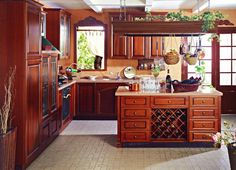 Kitchen Cabinet Country Cherry Kitchen Cabinet With Hanging Pot Utensil Racks…