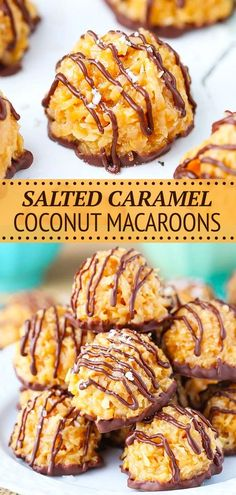 These Salted Caramel Coconut Macaroons are no bake and so easy to make! The perfect mix of coconut, caramel and chocolate! I'm in love! Coconut Caramel Recipe, Caramel Recipes, Delicious Desserts, Dessert Recipes, Kinds Of Cookies, Coconut Macaroons, Best Cookie Recipes, Melting Chocolate, Biscotti