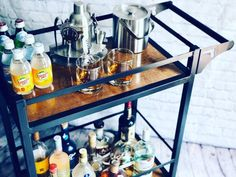 "Discover even more relevant information on ""gold bar cart styling"". Look at our site. Industrial Bar Cart, Modern Industrial, Industrial Furniture, Vodka Bar, Gin Bar, Apartment Bar, Birthday Bar, Gold Bar Cart, Ottoman Tray"