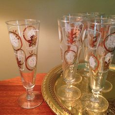Six vintage gold leaf pattern fluted glasses from Libbey by FromTheSeller on Etsy