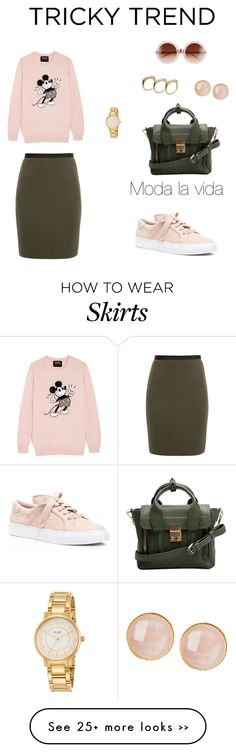 """Pencil skirt and sneakers"" by sebolita on Polyvore featuring Karolina Zmarlak, Markus Lupfer, Tory Burch, 3.1 Phillip Lim, Saachi, Tiffany Kunz, Kate Spade and Wildfox"