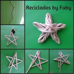 Handmade Christmas Tree, Handmade Ornaments, Christmas Crafts, Christmas Ornaments, Christmas Star, Weaving Designs, Weaving Projects, Paper Weaving, Weaving Art