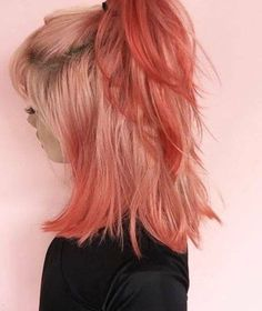 Peach hair color in half ponytail for medium length hair Dye My Hair, Hair Day, Ombre Hair, Gorgeous Hair, Pretty Hairstyles, Crazy Hairstyles, Latest Hairstyles, Hair Goals, Her Hair