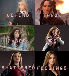 Luna Lovegood (Harry Potter) Katniss Everdeeen (Hunger games) Teresa something (Maze Runner) Ginny Weasley (Harry Potter) and someone I don't know