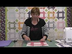http://missouriquiltco.com -- Jenny Doan demonstrate how to make the gorgeous Churn Dash quilt block using layer cakes (10 squares).