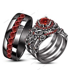 4.20 CT Round Garnet 14K Black Gold Finish Fishtail Set His & Her Trio Ring Set #aonedesigns
