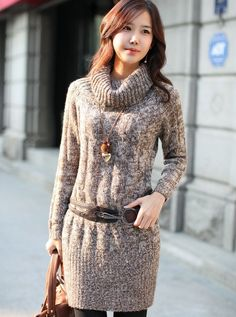 76c801cddd5 Korean Style High Heaps Collar Loose Bottoming Sweater Dress Brown--Click  the picture can