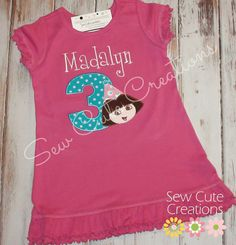 Personalized Dora Birthday Dress number Girls by sewcutecreations
