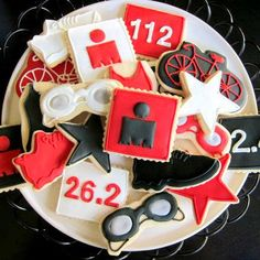Any triathlete would be happy to get these cute triathlon sugar cookies!