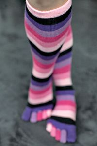 Pink Rainbow Toe Socks - Who needs regular rainbows when you can have purples and pinks and just a dash of black? These are tube style (no formed heel) and will fit most sizes with varying results that may be mid calf or nearly knee high. Funky Socks, Crazy Socks, Colorful Socks, Tabi Socks, My Socks, Thigh High Socks, Knee Socks, Striped Socks, Everything Pink