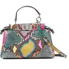 Fendi Peekaboo micro python shoulder bag ($2,350) ❤ liked on Polyvore featuring bags, handbags, shoulder bags, fendi, bolsa, green, tote shoulder bag, crossbody purse, mini tote and crossbody tote bag