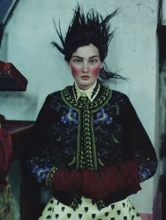 Kirsi Pyrhonen, photographed in Outer Mongolia, by Tim Walker for British Vogue, December 2011.