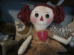 Raggedy Ann primitive little by granniesraggedybags on Etsy, $14.00