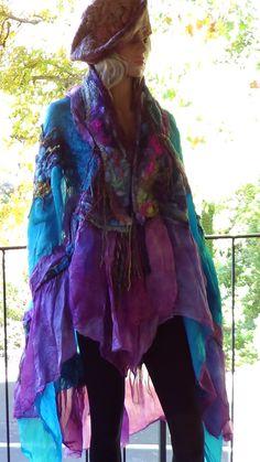 Fashion Felt Shawl Skirt Scarf Organic Vintage style by rafaelart