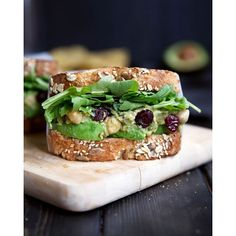 My favorite easy and healthy lunch/dinner: smashed chickpea avocado salad with cranberries and…