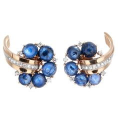 Diamond Is A Girl Best Friend   Retro blue cabochon sapphire, diamond and 18k...