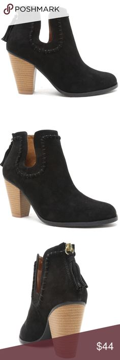 """❤️MUST HAVE- U CUT OUT SUEDE LIKE BLACK BOOTIES❤️ An Absolute must have this season!  SELLING OUT ALREADY EVERYWHERE. Add a little bit of giddy to your closet with these beautiful ankle boots/booties. They feature a suede leatherette upper, cutout detail, tassel accent, block heel, man made lining, pointed toe and a zipper closure.  Style is Nixon-10X  Material: Man made, leatherette  Sole: Synthetic  Measurement:  Heel Height: 3 1/4"""" (approx)  Platform: 1/2"""" (approx)  Fitting: True to size…"""