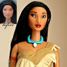 OOAK Pocahontas repaint using a Mattel Pocahontas doll. Hair restyled. #ooakdoll #disneydoll #pocahontas #disney #dollrepaint #dollstagram #barbie