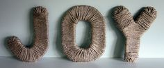 jute wrapped letters. probably could just wrap card board letters