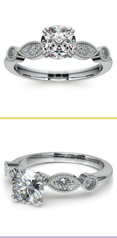 This vintage style engagement ring setting in platinum pulls inspiration from Edwardian era jewelry with milgrain detail and elongated shapes for elegance. Approximately 1/5 total weight of round cut diamonds.