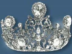 Stuart Diamond Tiara, The Netherlands (1897; made by Johann Eduard Schümann & Company; diamonds). Set with the Stuart Diamond, a pear-shaped stone originally bought by King William III for Queen Mary II of England. www.royal-magazin.de