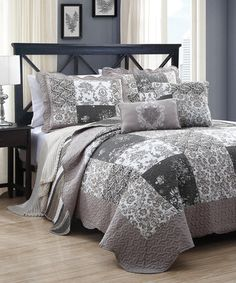 Home Fashions Taupe U0026 Gray Francine Five Piece Quilt Set