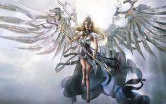 Red Fantacy female angels | Angel, Art, Beautiful, Beauty, Blonde, CG, Digital Art, Face, Fantasy ...