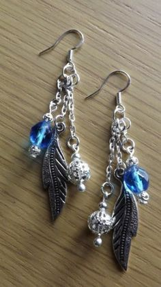 Earrings Tibetan Silver Leaves with Blue Glass Beads 925 Stamped Hooks