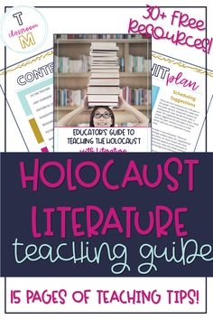 Teaching the Holocaust in Middle School Middle School Ela, Middle School English, High School, History Teachers, Teaching History, Free Teaching Resources, Teaching Tips, Holocaust Books, World History Lessons