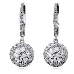 @Overstock - These stunning cubic zirconia drop earrings feature one medium sized cubic zirconia with smaller stones outlining it. Each earring secures with a leverback clasp and is crafted out of .925 sterling silver.http://www.overstock.com/Jewelry-Watches/Sterling-Silver-Clear-Cubic-Zirconia-Round-Drop-Earrings/6391650/product.html?CID=214117 $20.69