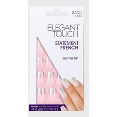 Elegant Touch French Nails With Glitter Tip ($8.71) ❤ liked on Polyvore featuring beauty products, nail care, nail treatments and pink