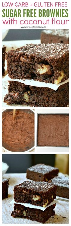 Sugar free brownie recipe for diabetic with coconut flour. 1.4 net carb per square. Made with coconut flour, stevia (swerve) , gluten free #dessertfoodrecipes