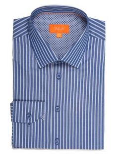 Tallia Orange Navy Slim-Fit Stripe Long Sleeve Shirt